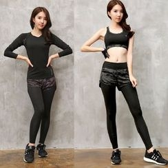 REALLION - 套装: 长袖运动T恤 + 假两件内搭裤运动短裤 + 运动文胸