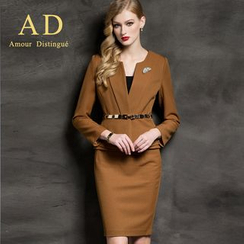 Aision - Set: Ruffle Blazer + Pencil Skirt