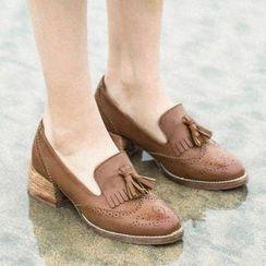 MIAOLV - Chunky Heel Tasseled Loafers