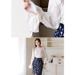DEEPNY - Round-Neck Tie-Sleeve Chiffon Top