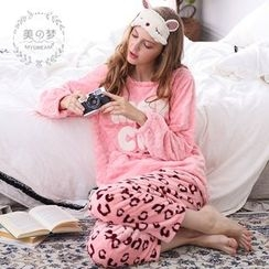 Mydream - Loungewear Set: Lettering Coral Fleece Top + Pants