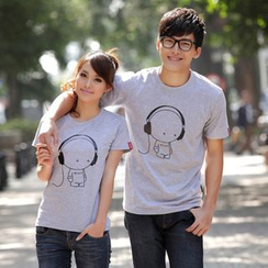Porspor - Couple Matching Cartoon Print T-Shirt