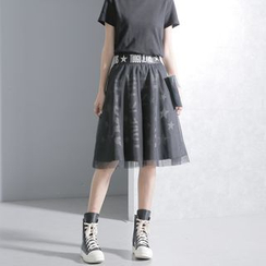 Sonne - Mesh-Overlay Printed Denim Skirt