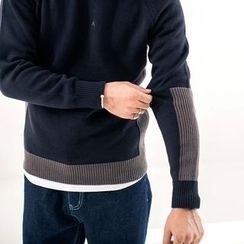 YIDESIMPLE - Color-Block Knit Sweater