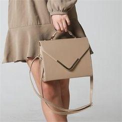 JVLLY - Faux-Leather Flap Satchel