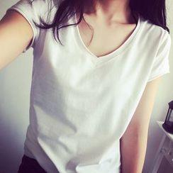 Fashion Street - V-neck Plain Short-Sleeve T-shirt