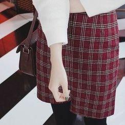 mimi&didi - Asymmetric-Hem Plaid Wool Blend Mini Skirt
