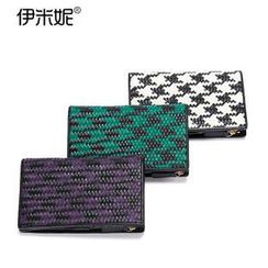 Emini House - Genuine Leather Houndstooth Woven Wallet