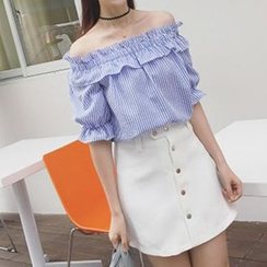 Cloud Nine - Ruffled Seersucker Blouse