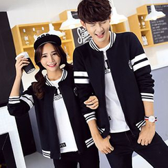 Tabula Rasa - Couple Matching Stripe Baseball Jacket