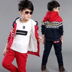 Pegasus - Kids Set : Patterned Fleece-lined Hooded Jacket + Sweatpants