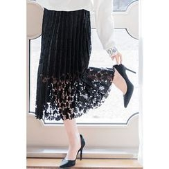 REDOPIN - Laced Pleated Long Skirt