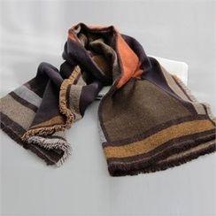 YOOM - Fringed Color-Block Knit Scarf