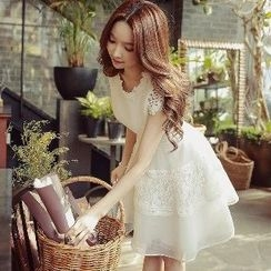 Dabuwawa - Short-Sleeve Lace A-Line Dress