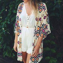Morning Dew - Print Chiffon Kimono Jacket