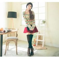 Hanako Shiratori - Set: Cherry Jacquard Sweater + A-Line Skirt
