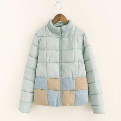 Mocha - Color Panel Padded Coat