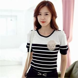 Styleberry - Crochet-Patch Stripe T-Shirt