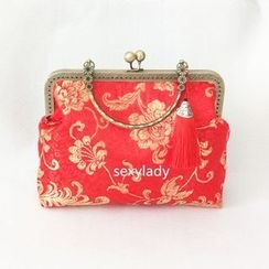 Bling Bag - Floral Print Tasseled Clipframe Handbag