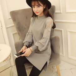 EFO - Long-Sleeve Lace-Panel Knit Dress
