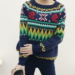 DANI LOVE - Crew-Neck Pattern Sweater