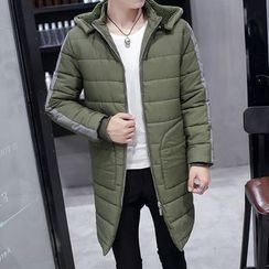 Bay Go Mall - Contrast Trim Hooded Padded Coat