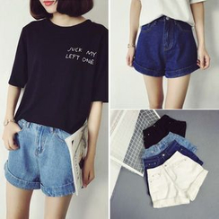 MePanda - High-Waist Denim Shorts