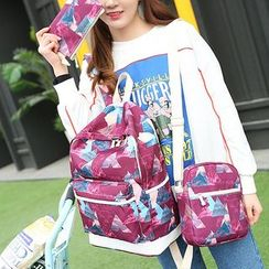Bagolo - Set: Printed Canvas Backpack + Cross Ba + Pouch