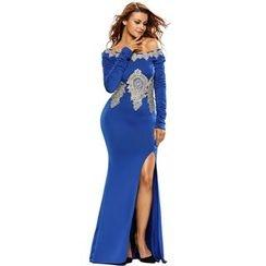 Dear Lover - Long-Sleeve Off Shoulder Slit Evening Gown