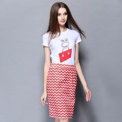 Cherry Dress - Set: Printed Short-Sleeve T-shirt + Chevron Skirt