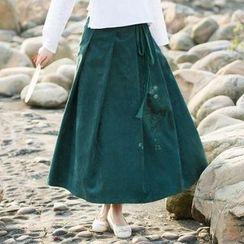chic n' fab - Linen-blend Maxi Skirt