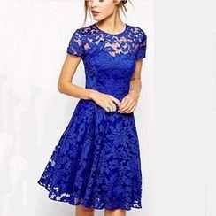HOTCAKE - Short Sleeve A-Line Lace Dress