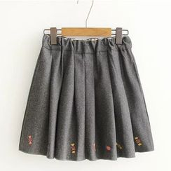 Citree - Embroidered Knit A-line Skirt