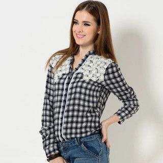 YesStyle Z - Open-Placket Embroidered-Panel Check Blouse