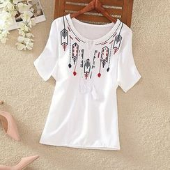 Clementine - Embroidered Tassel Short-Sleeve T-Shirt
