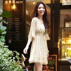 Tokyo Fashion - Set: Elbow-Sleeve Floral Dress + Bandeau Top