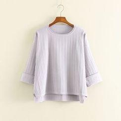 Mushi - Ribbed 3/4 Sleeve Knit Top