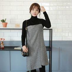 Seoul Fashion - Set: Wool Blend Herringbone Jumper Dress + Rib-Knit Top