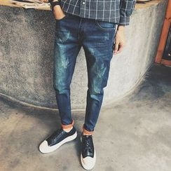 Mitouomo - Distressed Slim Fit Jeans