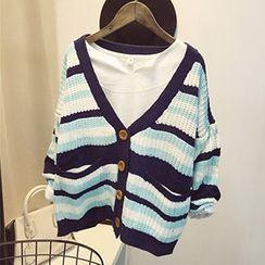 Polaris - Striped V-Neck Cable Knit Cardigan