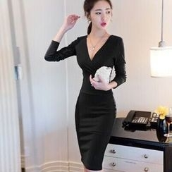 Clospace - Long-Sleeve V-Neck Sheath Dress