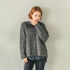 Seoul Fashion - Wool Blend Chunky-Knit Sweater