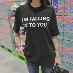 TOM & RABBIT - Short-Sleeve Lettering T-Shirt