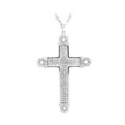 BELEC - 925 Sterling Silver Cross Pendant with White Cubic Zircon and Necklace