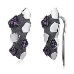 MBLife.com - Left Right Accessory - 925 Silver Meteorolite Shaped with Purple CZ Earrings