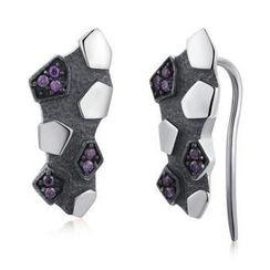 MBLife.com - 925 純銀隕石設計紫色CZ耳環