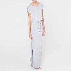Rooftop Sonata - Side Slit Short Sleeve Maxi Dress