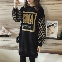 Little V - Letter Applique Sequined Pullover Dress