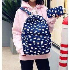 Seok - 两件套: 猫猫印花背包 + 拉链小袋