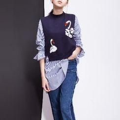 Halona - Set: Ruffled Long Shirt + Knit Vest